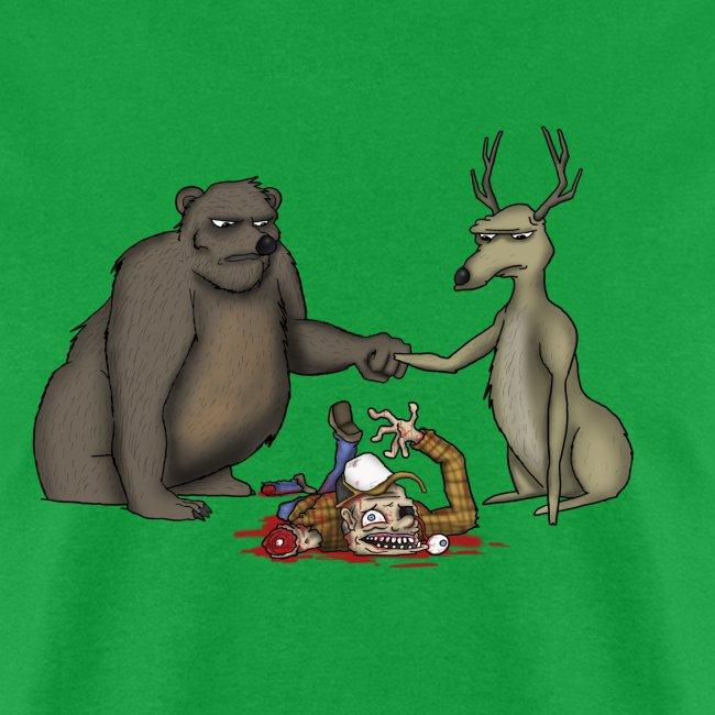 A Bear Bro-Fisting a Deer