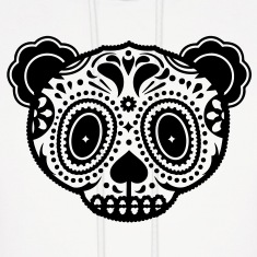 A panda bear head in the style of Sugar Skulls  Hoodies