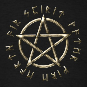 Runic Pentacle, pentagram, protection, runes T-Shirts - Men's T-Shirt