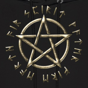 Runic Pentacle, pentagram, protection, runes Hoodies - Men's Hoodie