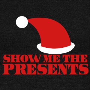 SHOW ME THE PRESENTS! Christmas santa hat funny Long Sleeve Shirts - Women's Wideneck Sweatshirt