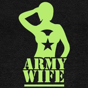 Sexy lady ARMY wife saluting Long Sleeve Shirts - Women's Wideneck Sweatshirt