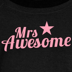 MRS AWESOME with a sexy pink star Long Sleeve Shirts - Women's Wideneck Sweatshirt