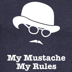 MY MUSTACHE - MY RULES bowler hat glasses Long Sleeve Shirts - Women's Wideneck Sweatshirt