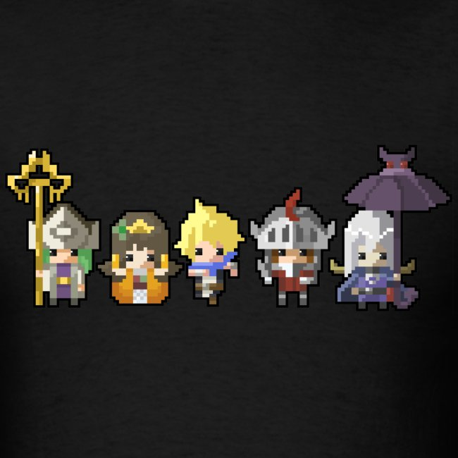 Half Minute Hero row of main characters Men's T-shirt
