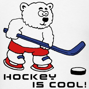 polar bear playing hockey comic cartoon T-Shirts - Men's T-Shirt