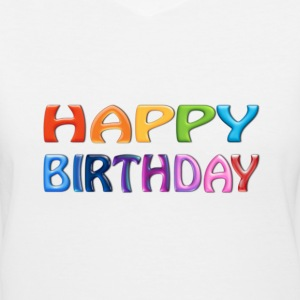 Happy Birthday - Happy Colourful Greeting 2 - Women's V-Neck T-Shirt