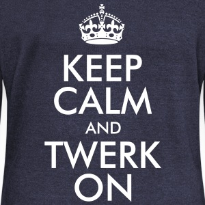 Keep Calm and Twerk On Long Sleeve Shirts - Women's Wideneck Sweatshirt