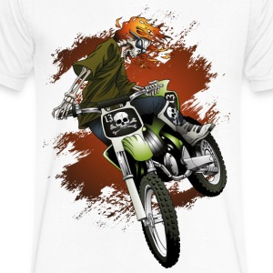Dirt Biker Skull - Men's V Neck T Shirt - Men's V-Neck T-Shirt by Canvas