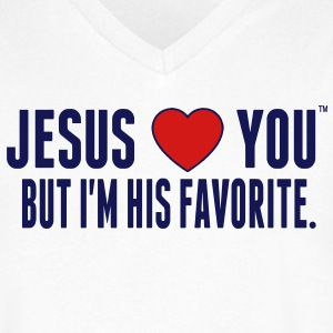 JESUS LOVE YOU BUT I'M HIS FAVORITE T-Shirts - Men's V-Neck T-Shirt by Canvas