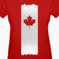 Canadian Maple Leaf on silver stake 4 red apparels Women's T-Shirts