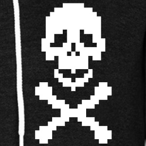 Pirate pixel art crossed bones Zip Hoodies/Jackets - Unisex Fleece Zip Hoodie by American Apparel