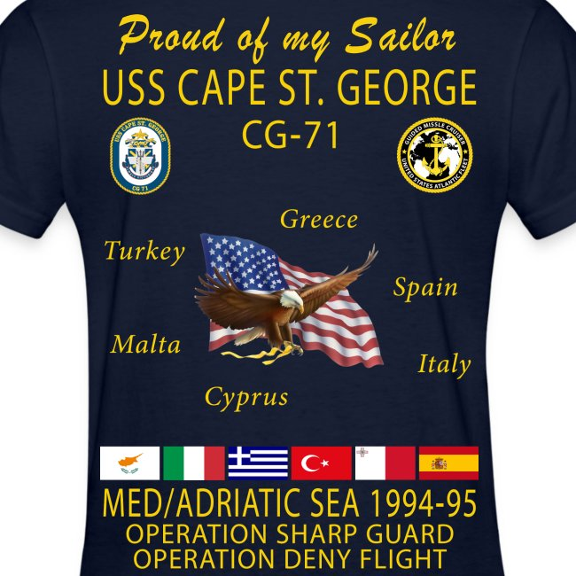 USS CAPE ST GEORGE 1994-95 WOMENS CRUISE SHIRT - FAMILY