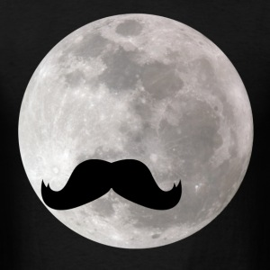 funny mustache in sky with moon - Men's T-Shirt