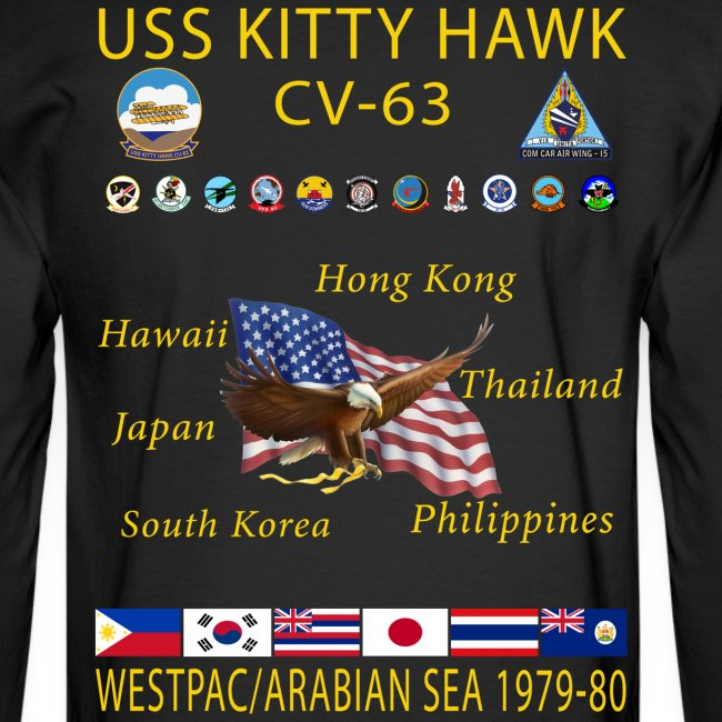 USS KITTY HAWK CV-63 WESTPAC/I.O./ ARABIAN SEA CRUISE 1979-80 CRUISE SHIRT - LONG SLEEVE
