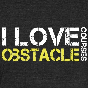 I love Obstacle Courses - Unisex Tri-Blend T-Shirt by American Apparel