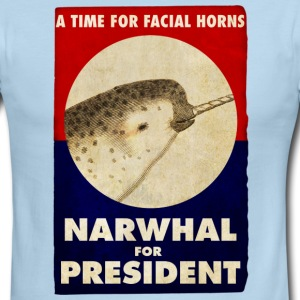 Narwhal for President Facial Horns Poster T-Shirts - Men's Ringer T-Shirt