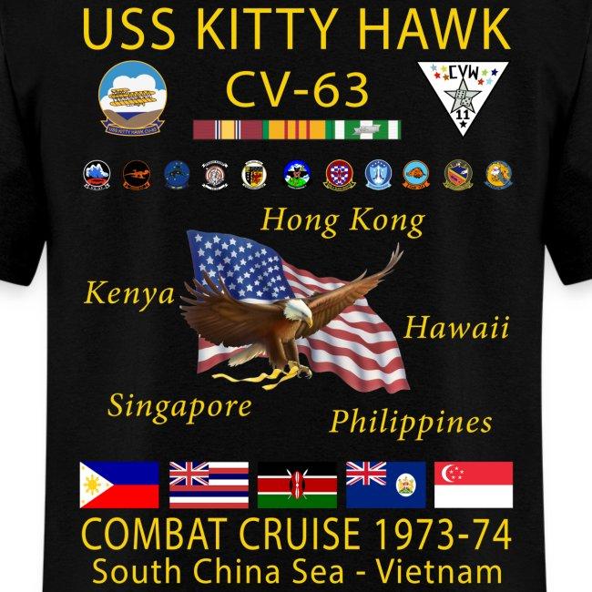 USS KITTY HAWK CV-63 COMBAT CRUISE 1973-74 CRUISE SHIRT