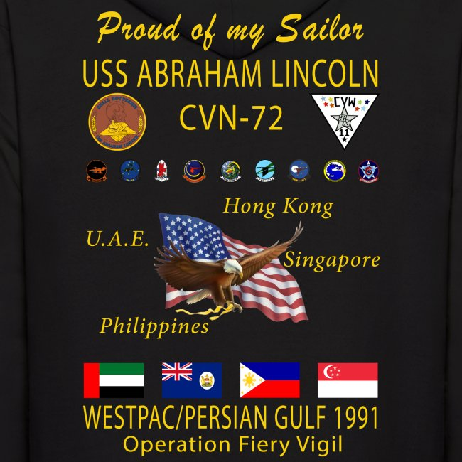 USS ABRAHAM LINCOLN CVN-72 WESTPAC/PERSIAN GULF 1991 CRUISE HOODIE - FAMILY EDITION