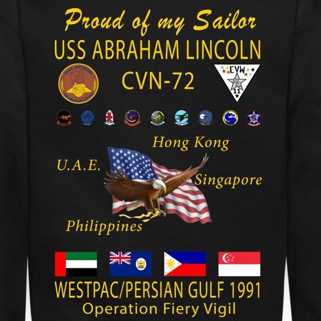 USS ABRAHAM LINCOLN (CVN-72) 1991 WESTPAC CRUISE SWEATSHIRT - FAMILY VERSION