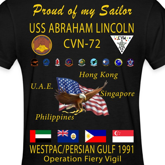 USS ABRAHAM LINCOLN (CVN-72) 1991 WESTPAC WOMENS CRUISE SHIRT - FAMILY VERSION