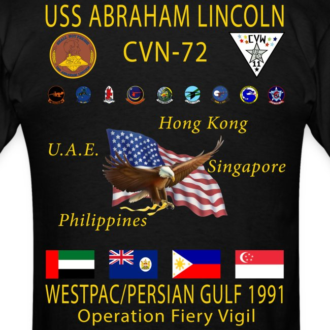 USS ABRAHAM LINCOLN CVN-72 WESTPAC/PERSIAN GULF 1991 CRUISE SHIRT