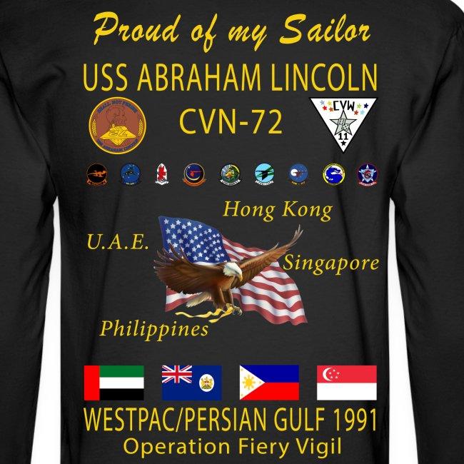 USS ABRAHAM LINCOLN CVN-72 WESTPAC/PERSIAN GULF 1991 LONG SLEEVE CRUISE SHIRT - FAMILY EDITION