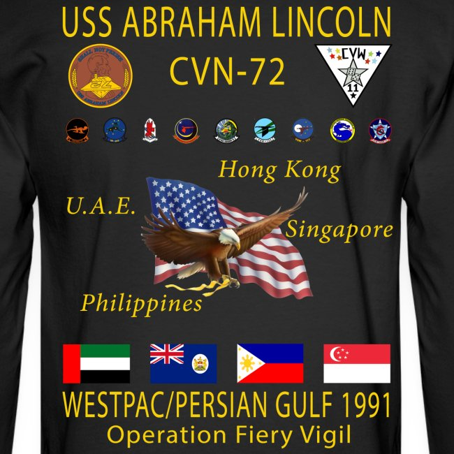 USS ABRAHAM LINCOLN CVN-72 WESTPAC/PERSIAN GULF 1991 CRUISE SHIRT - LONG SLEEVE