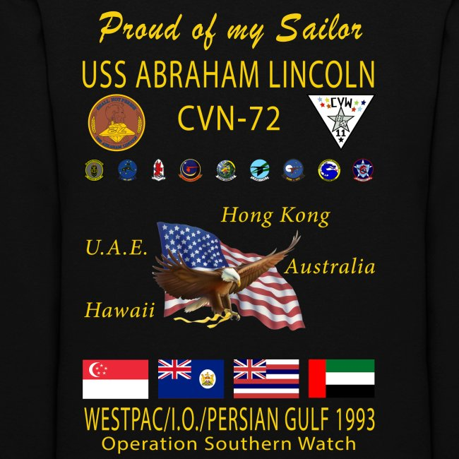 USS ABRAHAM LINCOLN (CVN-72) 1993 WESTPAC WOMENS CRUISE HOODIE - FAMILY VERSION