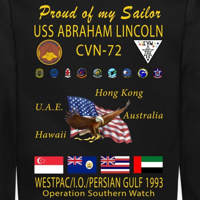 USS ABRAHAM LINCOLN CVN-72 WESTPAC/I.O./PERSIAN GULF 1993 CRUISE SWEATSHIRT - FAMILY EDITION