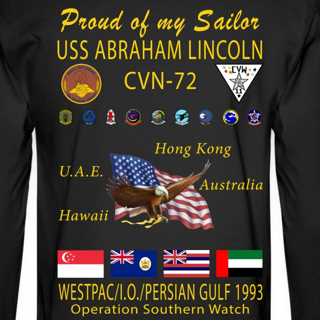 USS ABRAHAM LINCOLN CVN-72 WESTPAC/I.O./PERSIAN GULF 1993 LONG SLEEVE CRUISE SHIRT - FAMILY EDITION
