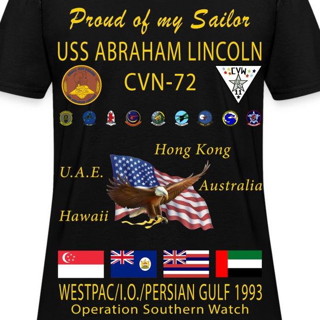 USS ABRAHAM LINCOLN CVN-72 WESTPAC/I.O./PERSIAN GULF 1993 WOMENS CRUISE SHIRT - FAMILY EDITION
