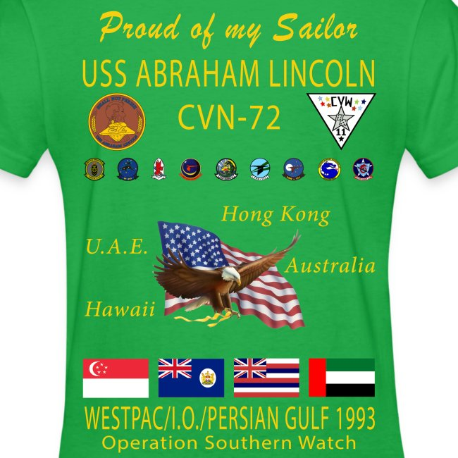 USS ABRAHAM LINCOLN CVN-72 WESTPAC/I.O./PERSIAN GULF 1993 WOMENS CRUISE SHIRT - FAMILY EDITION