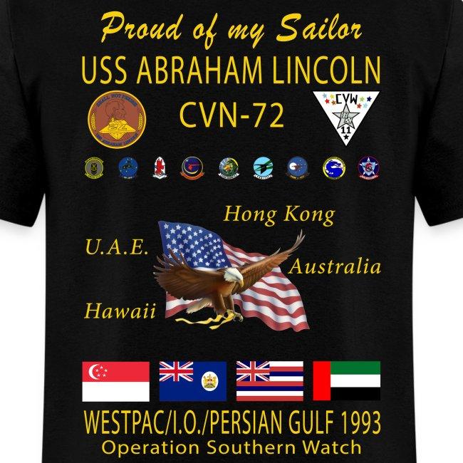 USS ABRAHAM LINCOLN (CVN-72) 1993 WESTPAC CRUISE SHIRT - FAMILY VERSION