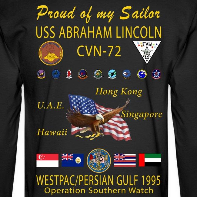 USS ABRAHAM LINCOLN CVN-72 WESTPAC/PERSIAN GULF 1995 LONG SLEEVE CRUISE SHIRT - FAMILY EDITION