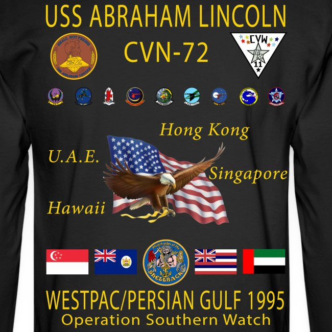 USS ABRAHAM LINCOLN (CVN-72) 1995 WESTPAC CRUISE SHIRT - LONG SLEEVE