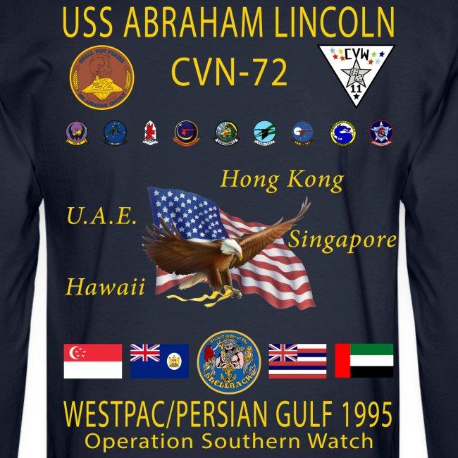 USS ABRAHAM LINCOLN (CVN-72) 1995 WESTPAC CRUISE SHIRT - LONG SLEEVE