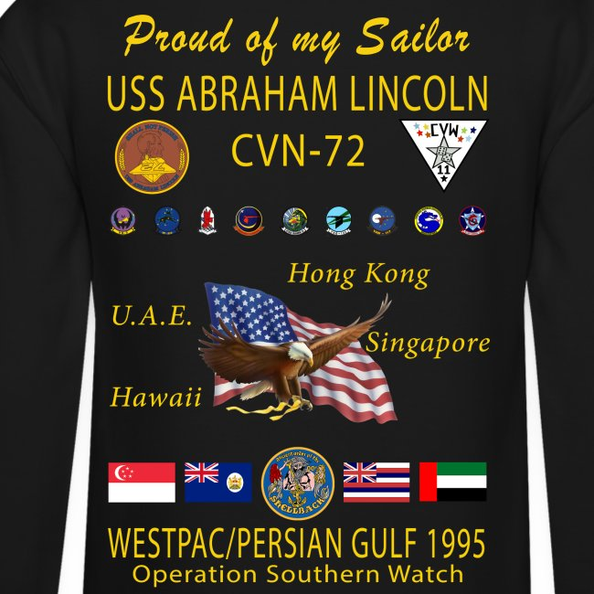 USS ABRAHAM LINCOLN (CVN-72) 1995 WESTPAC CRUISE SWEATSHIRT - FAMILY VERSION