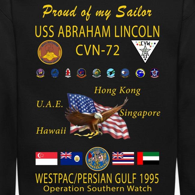 USS ABRAHAM LINCOLN (CVN-72) 1995 WESTPAC CRUISE SWEATSHIRT - FAMILY VERSION