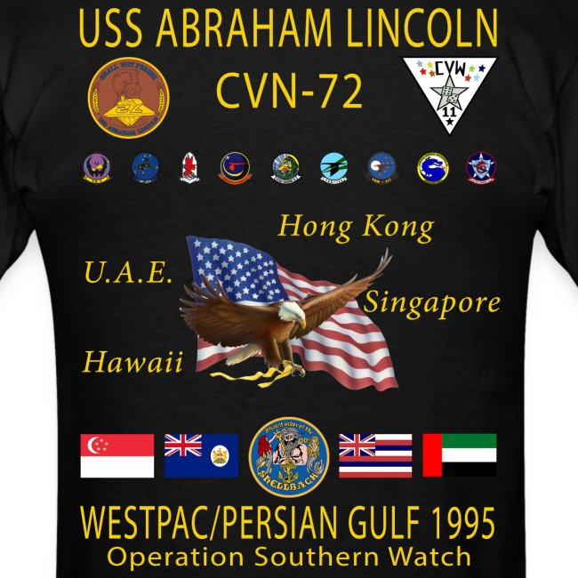 USS ABRAHAM LINCOLN (CVN-72) 1995 WESTPAC CRUISE SHIRT