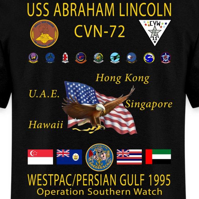 USS ABRAHAM LINCOLN CVN-72 WESTPAC/PERSIAN GULF 1995 CRUISE SHIRT