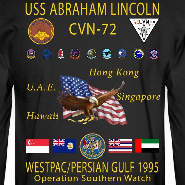 USS ABRAHAM LINCOLN CVN-72 WESTPAC/PERSIAN GULF 1995 CRUISE SHIRT - LONG SLEEVE