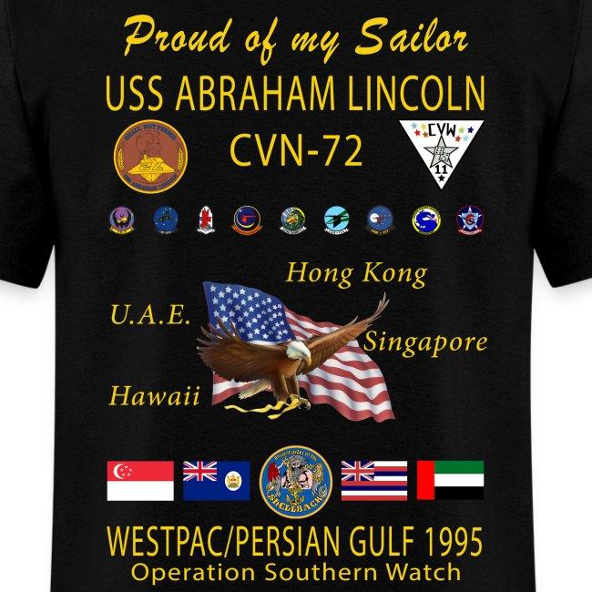 USS ABRAHAM LINCOLN CVN-72 WESTPAC/PERSIAN GULF 1995 CRUISE SHIRT - FAMILY EDITION