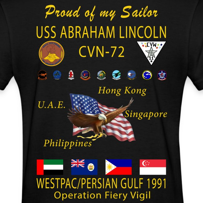 USS ABRAHAM LINCOLN CVN-72 WESTPAC/I.O./PERSIAN GULF 1991 WOMENS CRUISE SHIRT - FAMILY EDITION