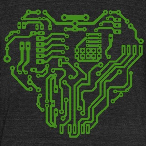 Heart printed circuit board T-Shirts - Unisex Tri-Blend T-Shirt by American Apparel