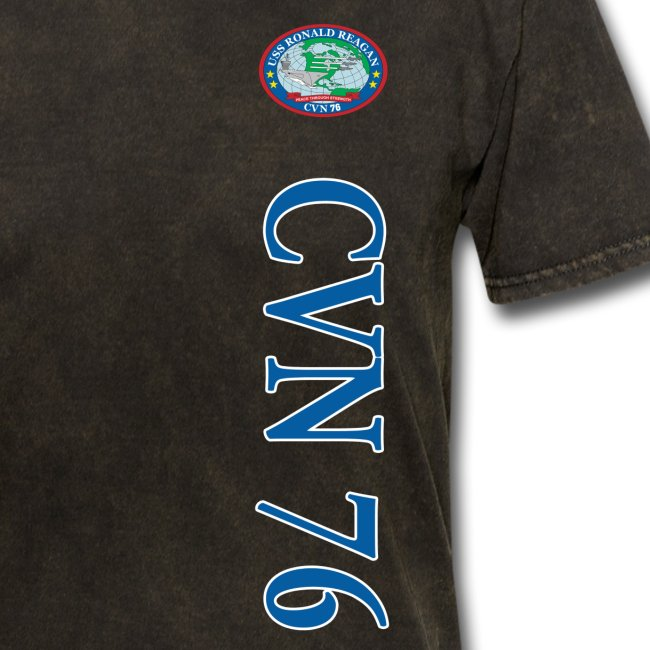 USS REAGAN CVN-76 STRIPE TEE w/ USA FLAG SLEEVE PRINT