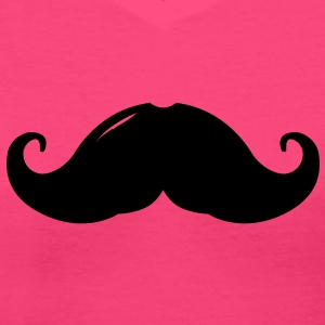 moustache girl french sexy cool glamour  - Women's V-Neck T-Shirt