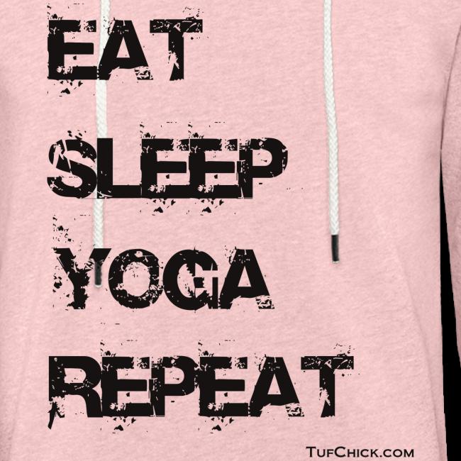 Eat Sleep Yoga Repeat - bw - Terry Hoodie