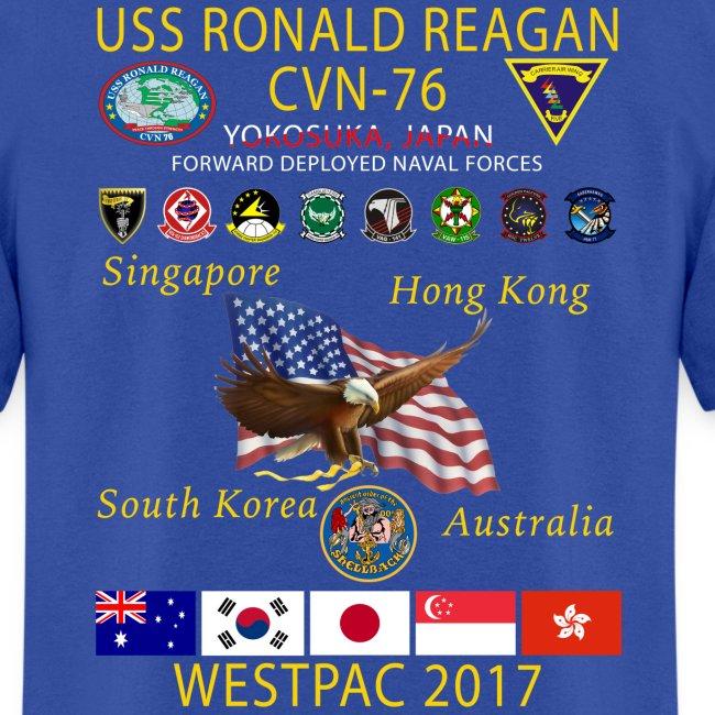 USS RONALD REAGAN CVN-76 WESTPAC 2017 CRUISE SHIRT