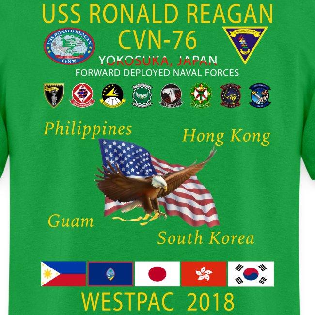 USS RONALD REAGAN CVN-76 WESTPAC 2018 CRUISE SHIRT